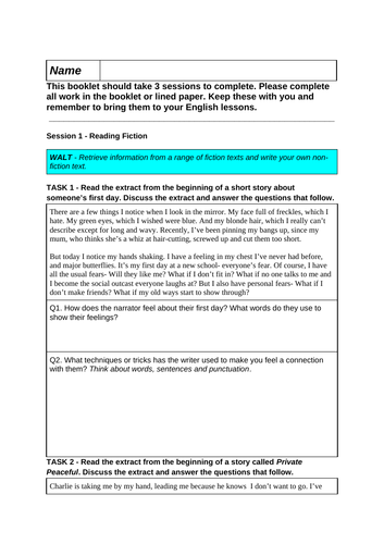 Yr 7 Reading and Writing English Cover Lesson