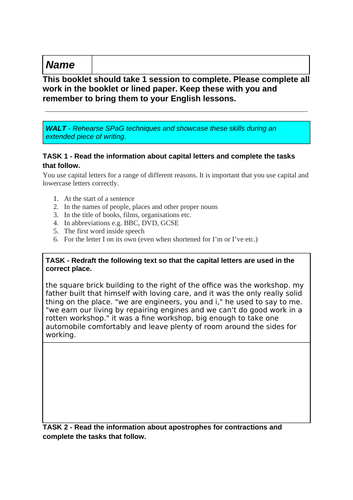 Yr8 English Cover Reading and Writing