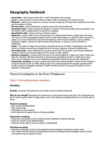 High-band  fieldwork for GCSE Geography Edexcel