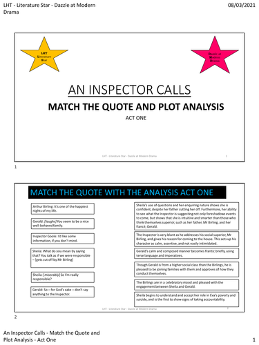 An Inspector Calls - Quote Match - Act 1 PDF