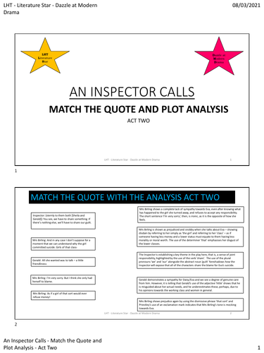 An Inspector Calls - Quote Match  Act 2 PDF