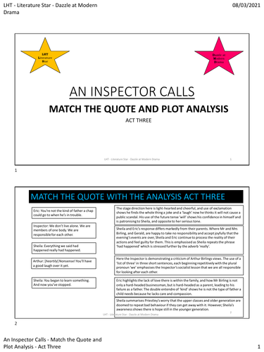 An Inspector Calls - Quote Match Act 3 PDF