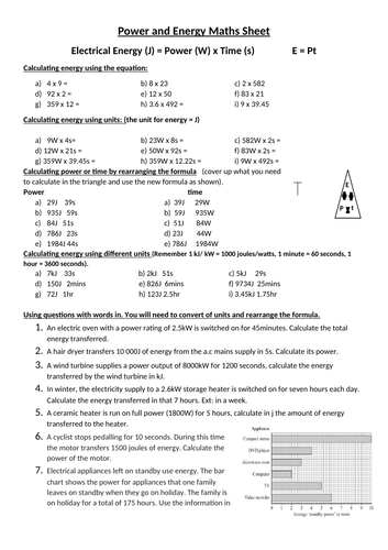 Power and energy equation scaffolded worksheet differentiated