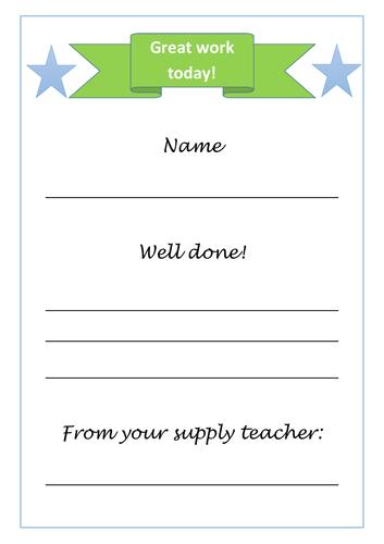 Supply teacher reward certificate incentive A4