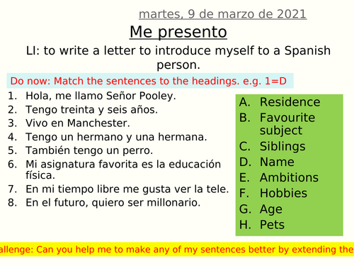 Me presento - letter of introduction to penfriend