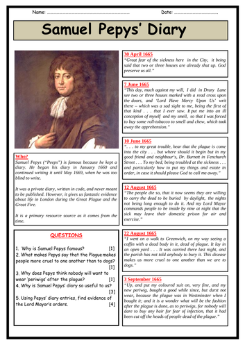 Samuel Pepys' Diary and The Plague