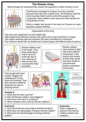 The Romans - Roman Army Worksheet