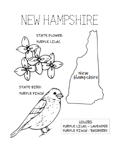 NEW HAMPSHIRE STATE BIRD AND FLOWER COLORING PAGE