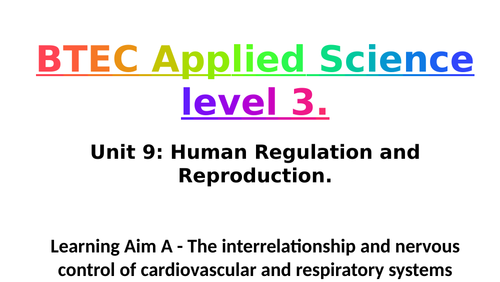 Pearson BTEC Applied Science L3 Unit 9: Learning Aim A