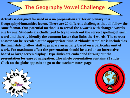 The Geography Vowel Challenge