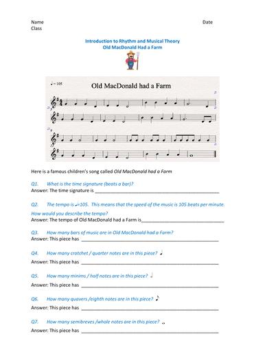 Fun Music theory worksheet based around Old MacDonald