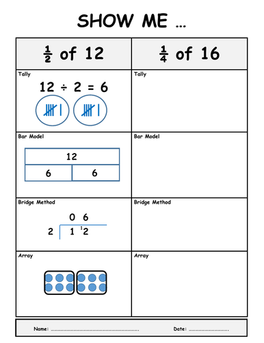 Fractions of a Number - Show Me Worksheets