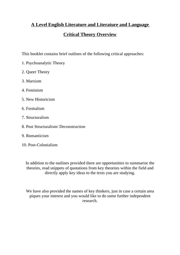 Critical Theory Booklet