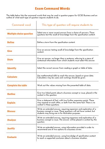 GCSE Business - Exam Command Words