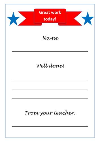 Teacher reward certificate incentive A4 print and sign