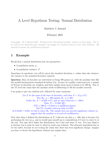 A Level Hypothesis Testing: Normal Distribution