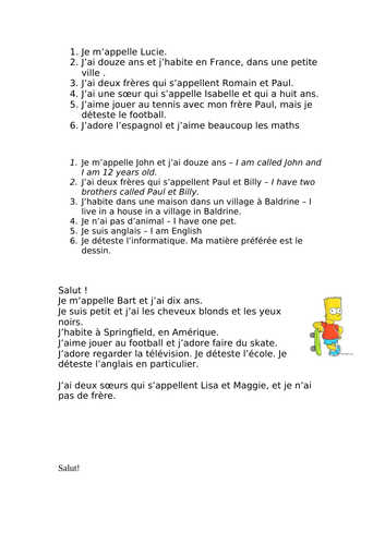 Little texts about personal information, hobbies and school French Year 7 level