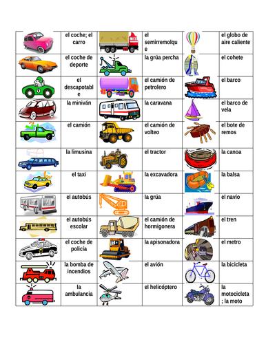 Vehículos (Vehicles in Spanish) Desk Mat