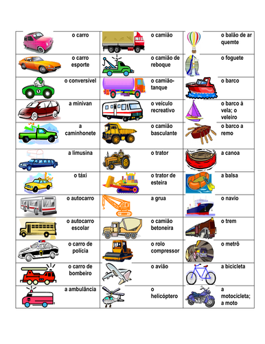Veículos (Vehicles in Portuguse) Desk Mat