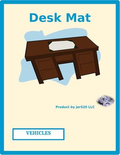 Vehicles in English Desk Mat