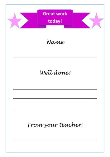 Teacher reward certificate incentive A4 print and sign alternative colourway