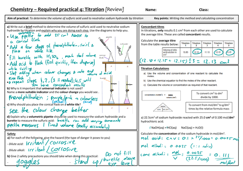 AQA 9-1 GCSE Science/Chemistry - Titration Required Practical review sheet