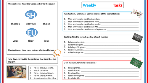 Retrieval task starter - talking about myself (Y6-8) - French