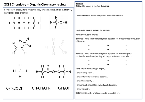 AQA 9-1 GCSE Science/Chemistry - 7. Organic Chemistry revision poster (Triple)