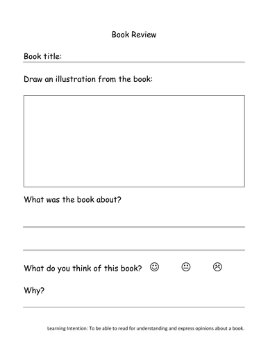 Book review literacy worksheet template Year 1 Year 2 and Reception
