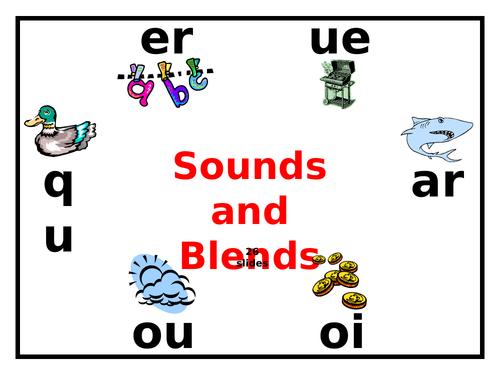 Phonics - Blends & Sounds - er, ue, qu, ar, ou, oi - PowerPoint