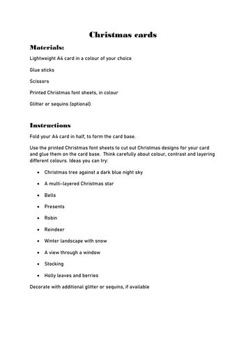 Christmas card easy craft printable activity set primary KS1 KS2