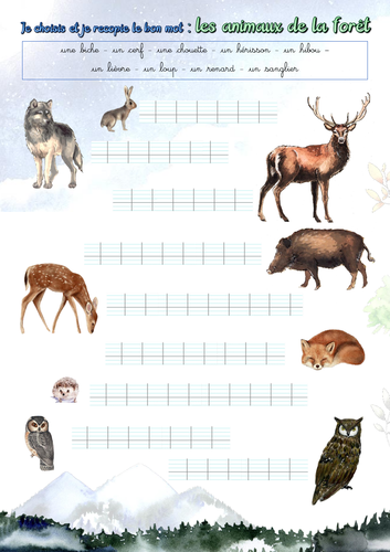 Handwriting (French): Forest animals (les animaux de la forêt)