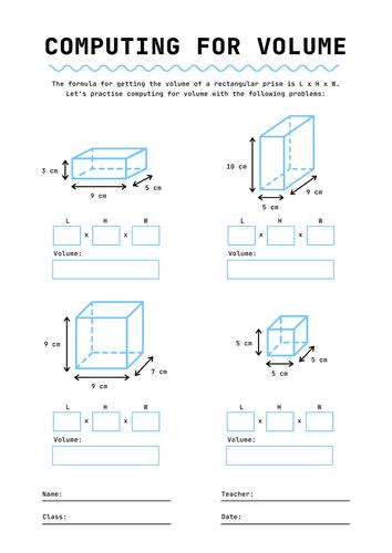 Volume of rectangular prisms. Years 6-8