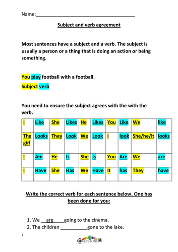 Subject and verb agreement Year 6