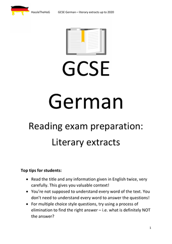 GCSE German literary extracts booklet