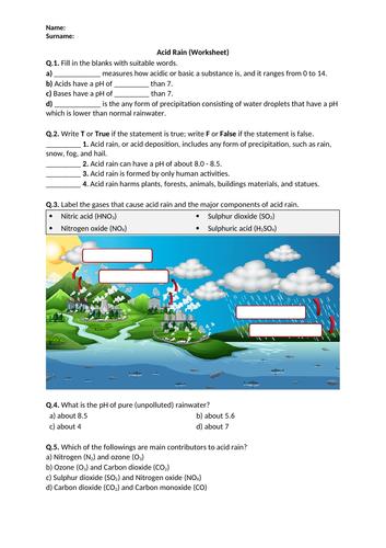 Acid Rain - Worksheet | Distance Learning