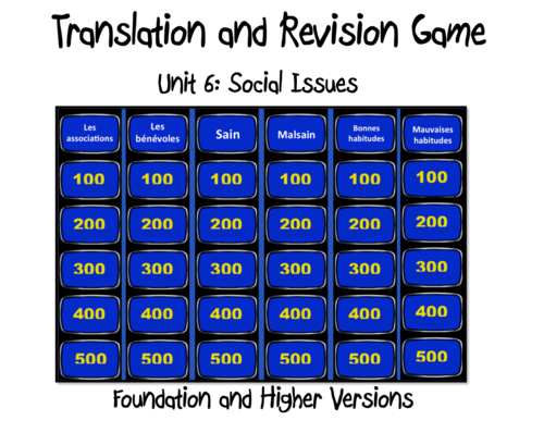 Translation and Revision Game- Unit 6- Social Issues-GCSE French