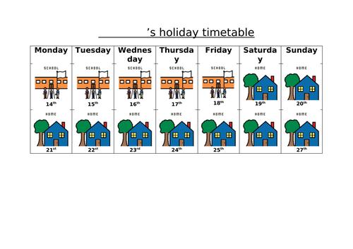Visual Calendar- One week school holiday