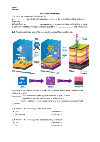 Fossil Fuels - Worksheet | Distance Learning