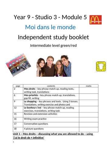 Studio 3 Module 5 Moi dans le monde Independent study workbook