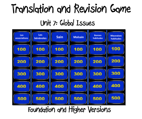 Translation and Revision Game- Unit 7- Global Issues-GCSE French