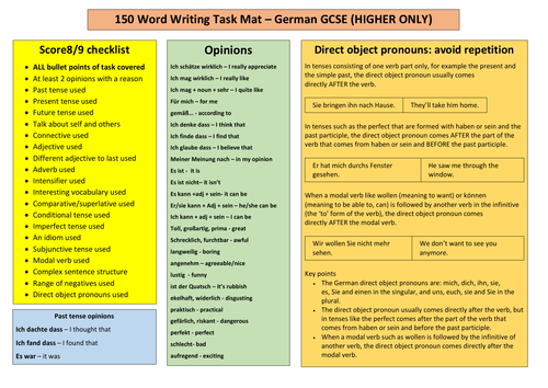 German GCSE 150-word writing mat - Higher - any exam board