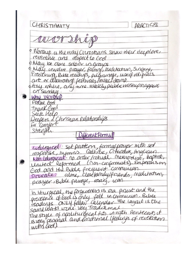 9-1 GCSE RS Christian Practices Notes (with quotes)