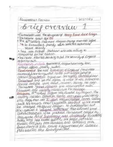 Elizabethan History Notes AQA 9-1 GCSE (with bonus summary of specification)