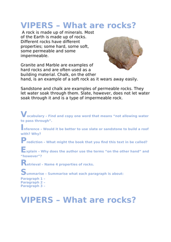 VIPERS - What are rocks? Comprehension