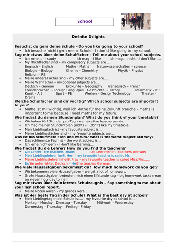 German GCSE School Revision Resources