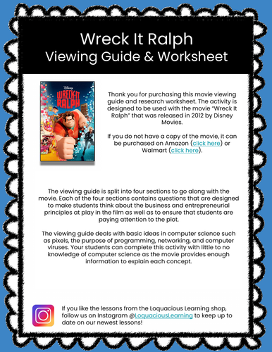 Wreck It Ralph Movie Viewing Guide (Basic Computer Science)