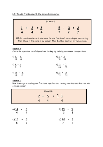 Mathematics: Adding Fractions Worksheet (KS2)