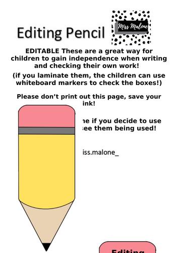 EDITABLE Editing Pencil
