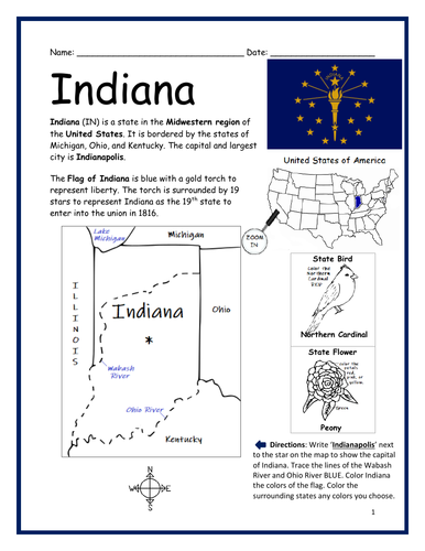 INDIANA - Introductory Geography Worksheet